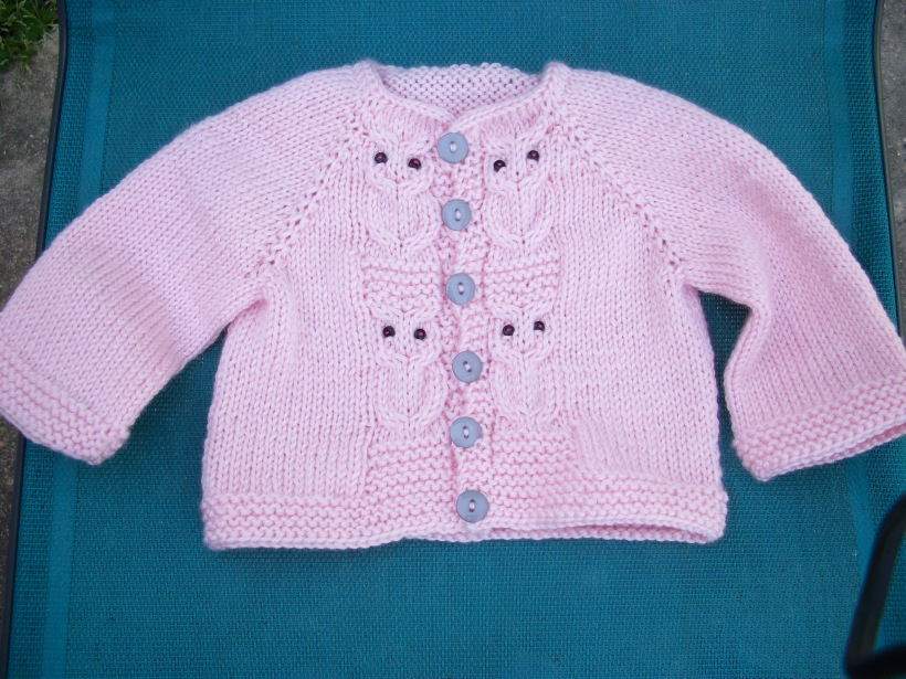 frog me knot pink baby owl cardigan