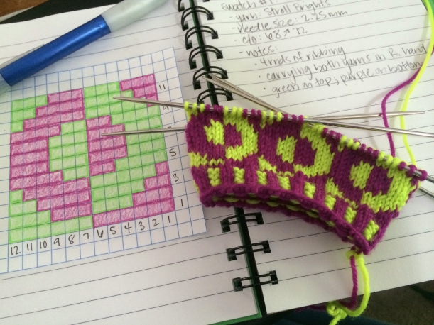 yaacov swatch 1 knitting frog me knot
